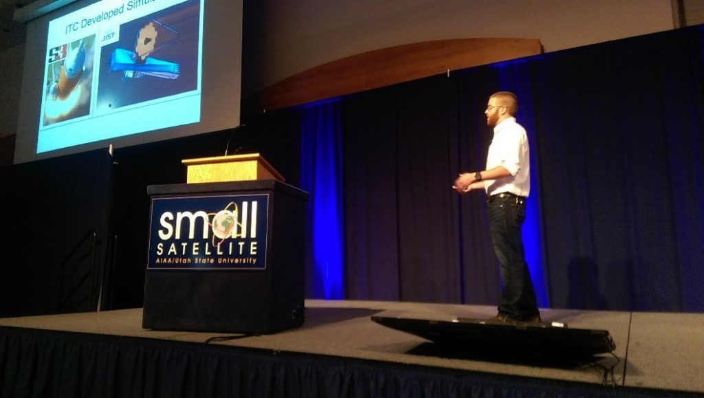 Matthew Grubb presents at the SmallSat Conference.